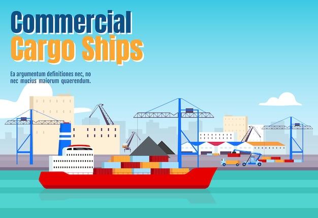 Platte sjabloon voor commerciële vrachtschepen. maritiem transport horizontale poster woord conceptenontwerp. scheepswerf cartoon illustraties met typografie. vrachtschepen op havenachtergrond