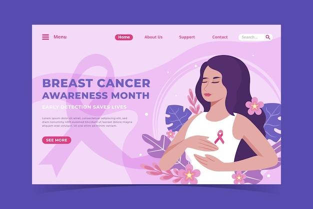 Platte sjabloon voor landingspagina's voor borstkankerbewustzijn