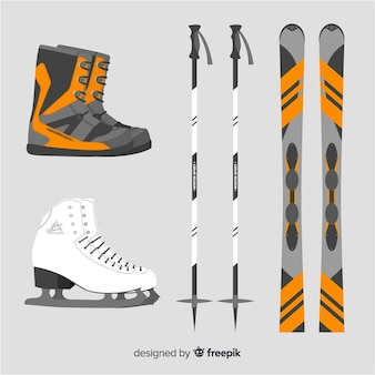 Platte ski-uitrusting
