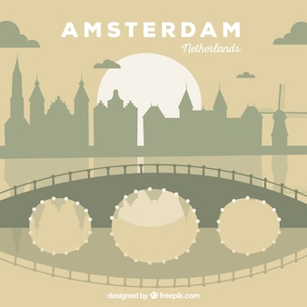 Platte skyline van amsterdam