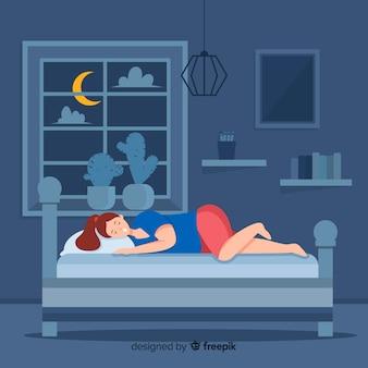 Platte slapende meisje achtergrond