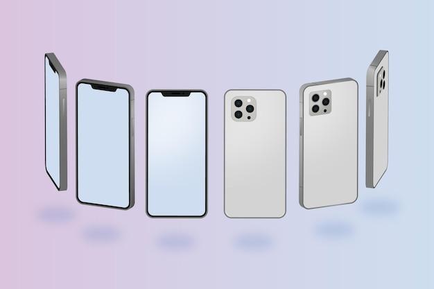 Platte smartphone in verschillende perspectieven