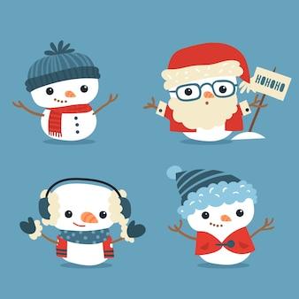 Platte sneeuwpop karakter pack