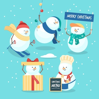 Platte sneeuwpop karakterverzameling