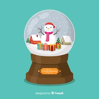 Platte sneeuwpop kerstmis sneeuwbal