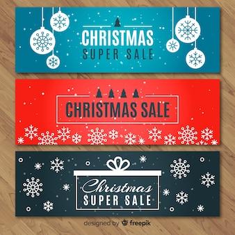 Platte sneeuwvlokken kerstmis verkoop banner