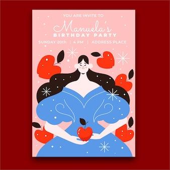 Platte sneeuwwitte verjaardagsuitnodiging
