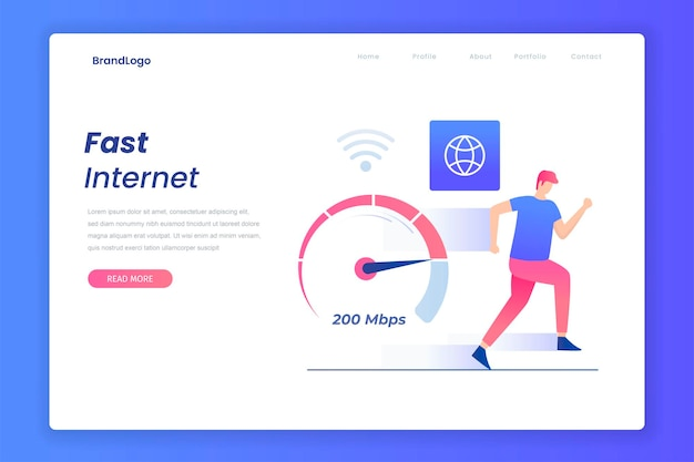 Platte snelle internetverbindingen concept