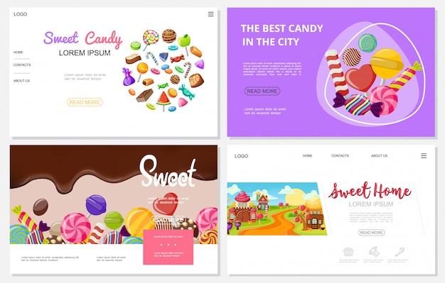 Platte snoepwebsites met kleurrijke chocoladekaramel-snoepjes, ijslollys, grappige zoete huizen