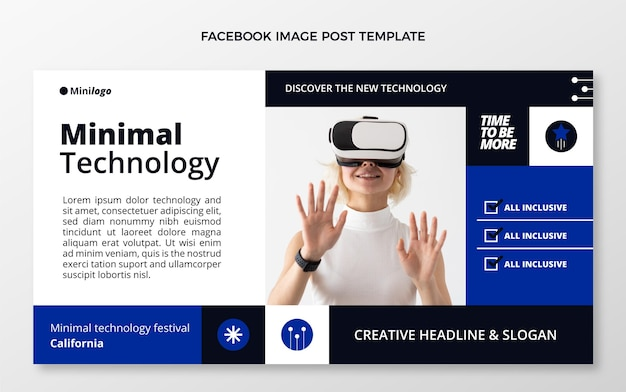 Platte social media postsjabloon met minimale technologie