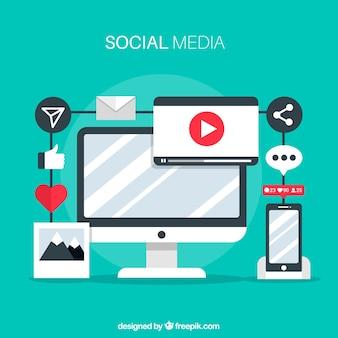 Platte sociale media achtergrond met computer