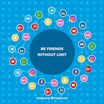 Platte sociale media achtergrond met kleurrijke pictogrammen