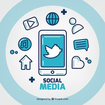 Platte sociale media achtergrond met mobiele telefoon