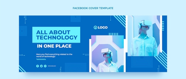 Platte sociale media voorbladsjabloon met minimale technologie