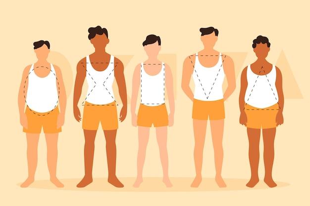 Platte soorten mannelijke lichaamsvormen pack