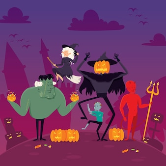 Platte spook halloween-kaart