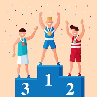 Platte sport games illustratie