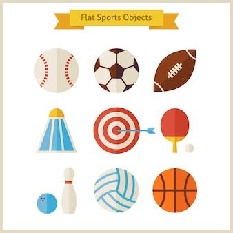 Platte sportobjecten instellen. verzameling van gezonde levensstijl sport objecten geïsoleerd over wit. sportactiviteiten competitie en teamsportspellen