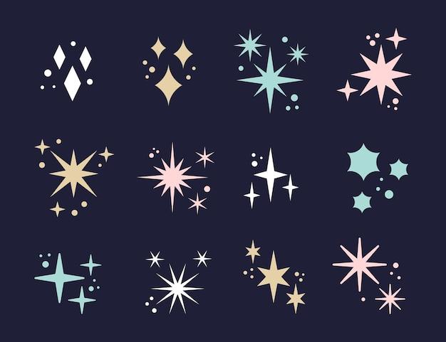 Platte sprankelende sterrencollectie