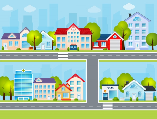 Platte stad illustratie
