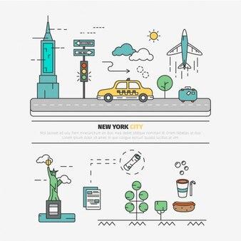 Platte stad van new york elementen