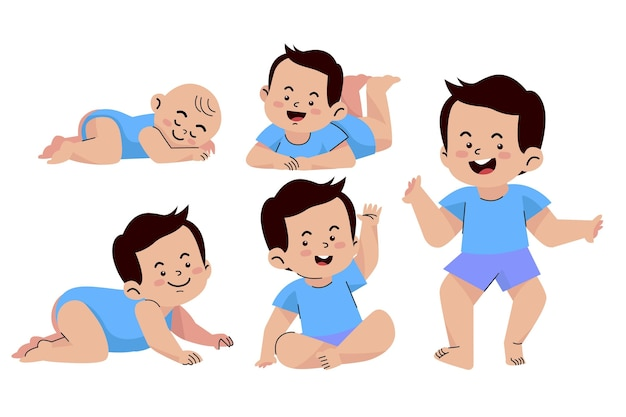 Platte stadia van een babyjongen set