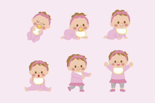 Platte stadia van een babymeisje