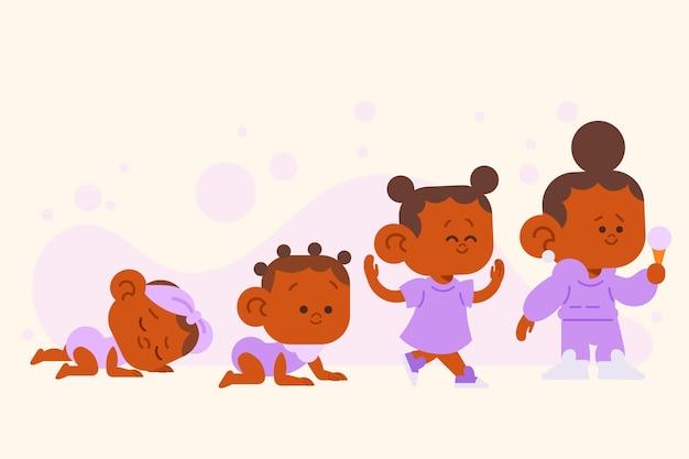 Platte stadia van een illustratie van een babymeisje