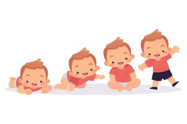 Platte stadia van een schattige babyjongen