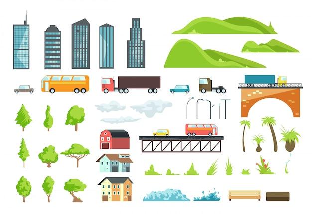 Platte stadskaart elementen met stedelijk vervoer, weg, bomen en gebouwen