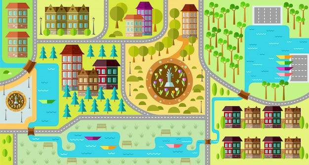 Platte stadsplattegrond