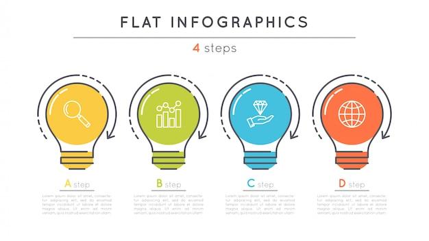 Platte stappen tijdlijn infographic sjabloon.