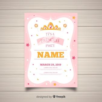 Platte sterren prinses partij uitnodigingssjabloon