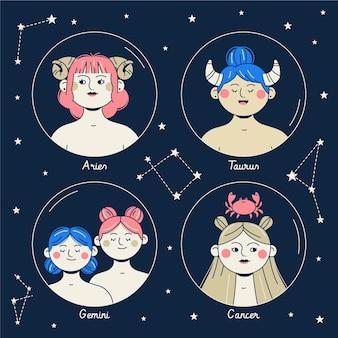 Platte sterrenbeeld collectie Gratis Vector