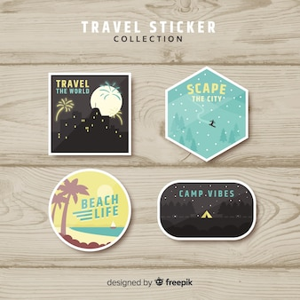 Platte stickercollectie voor reizen