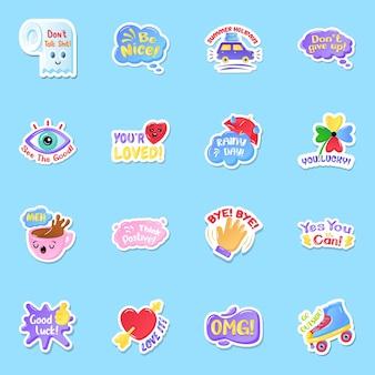 Platte stickers met teksten in bewerkbare stijl