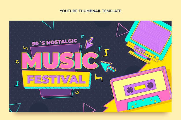 Platte stijl 90s nostalgisch muziekfestival youtube-thumbnail