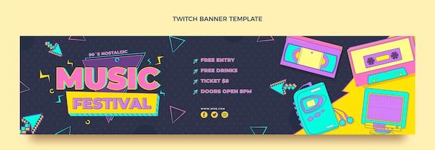 Platte stijl 90s nostalgische muziekfestival twitch banner