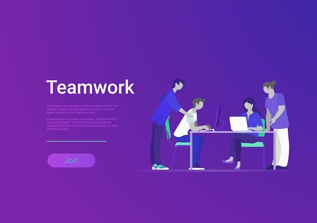 Platte stijl creatieve team web infographic vector