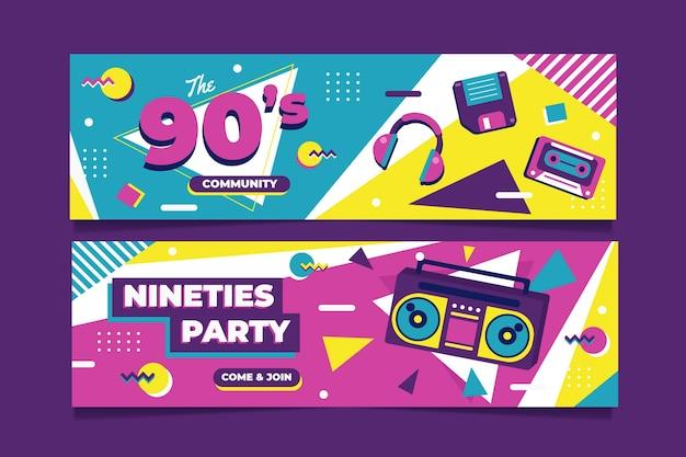 Platte stijl nostalgische 90's banners