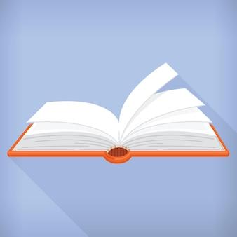Platte stijl open boek cartoon design