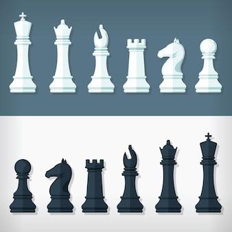 Platte stijl schaakstukken ontwerp