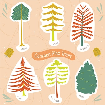 Platte stijl type bomen collectie