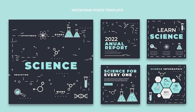 Platte stijl wetenschap instagram postsjabloon