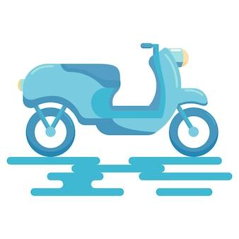 Platte stijlicoon van vintage blauwe scooter voor reizen of levering aan huis geïsoleerd op een witte achtergrond