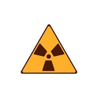 Platte straling pictogram. geel stralingssymbool. moderne vectorillustratie geïsoleerd op een witte achtergrond.