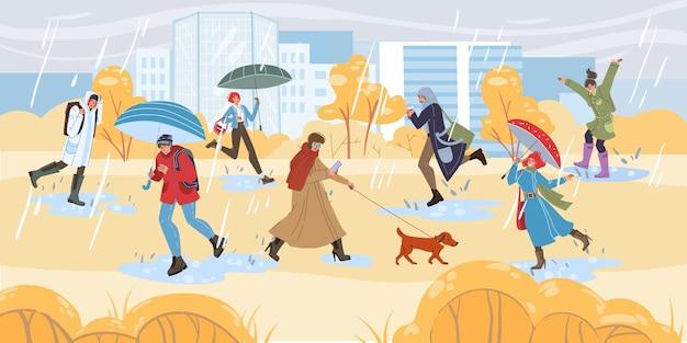 Platte stripfiguren die herfstactiviteiten doen en buiten wandelen in de regenmode