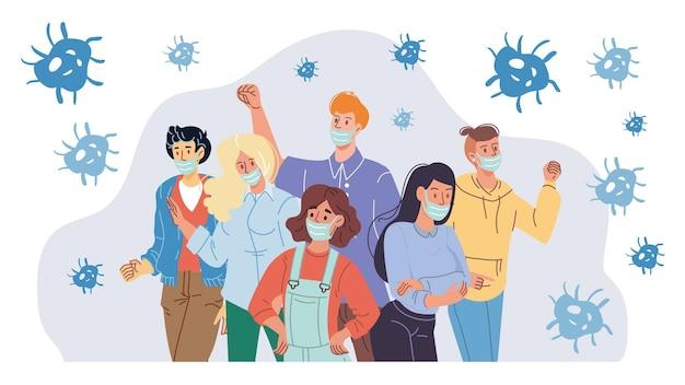 Platte stripfiguren dragen gezichtsmaskers tegen coronavirus covid-19