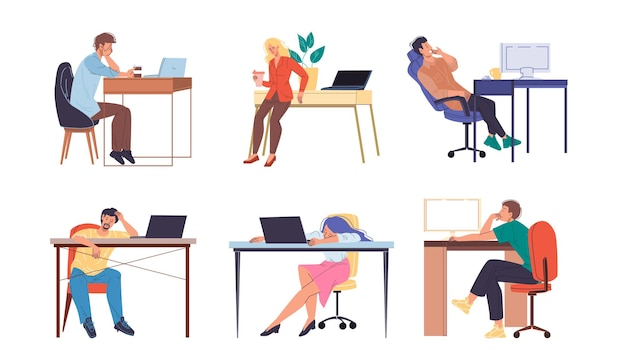 Platte stripfiguren hardwerkende kantoorpersoneel drukke werknemers
