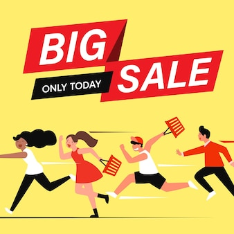Platte stripfiguren klanten op grote verkoop, shopping concept.